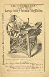 Advert for the Thomas Williams sausage making machine, reverse side